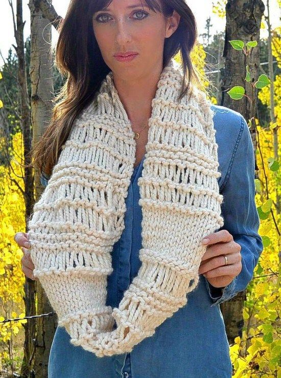 Free Knitting Pattern For Chunky Infinity Scarf And More Quick Cowl
