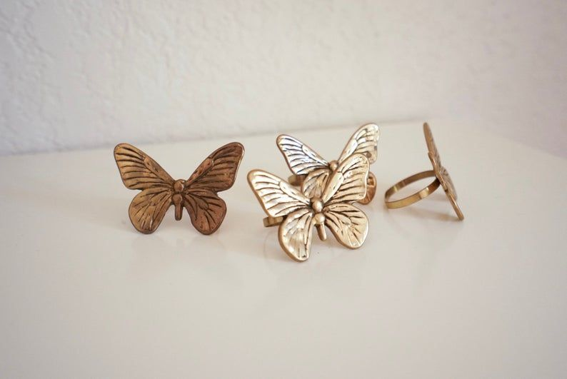 Vintage Brass Butterfly Napkin Rings (Set of 12) #napkinrings