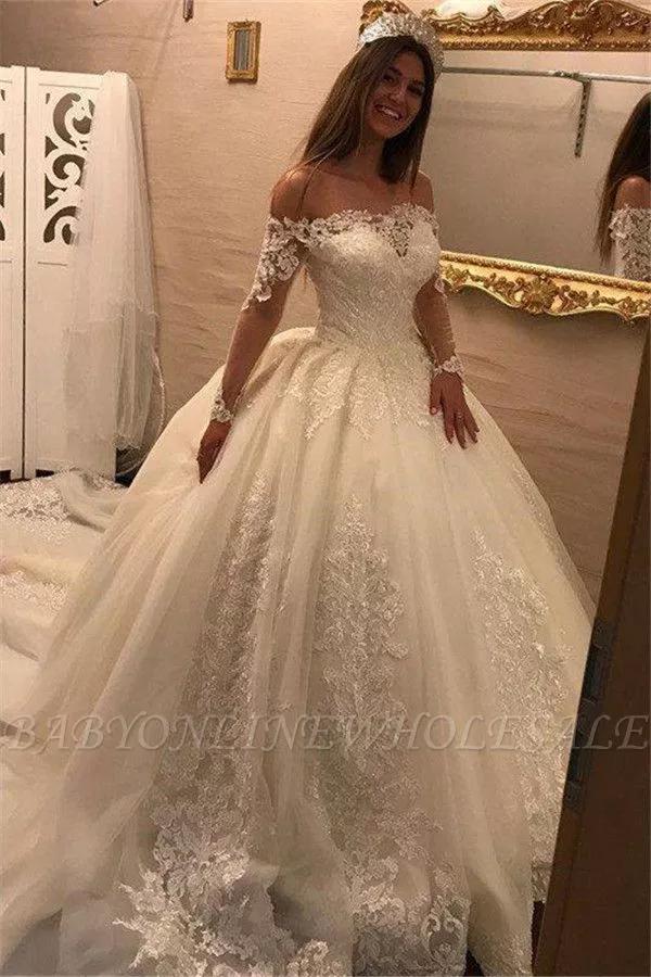 Prinzessin Hochzeitskleid Spitze Langarm | Elegante ...