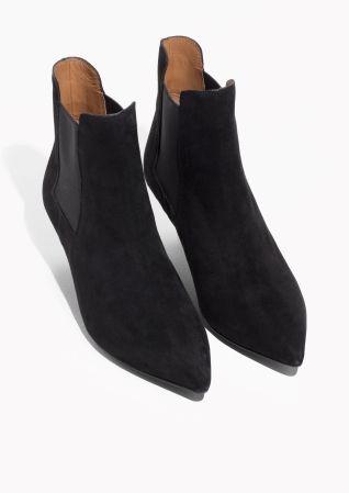 9ee548b067533 & Other Stories image 2 of Kitten Heel Suede Boots in Black ...