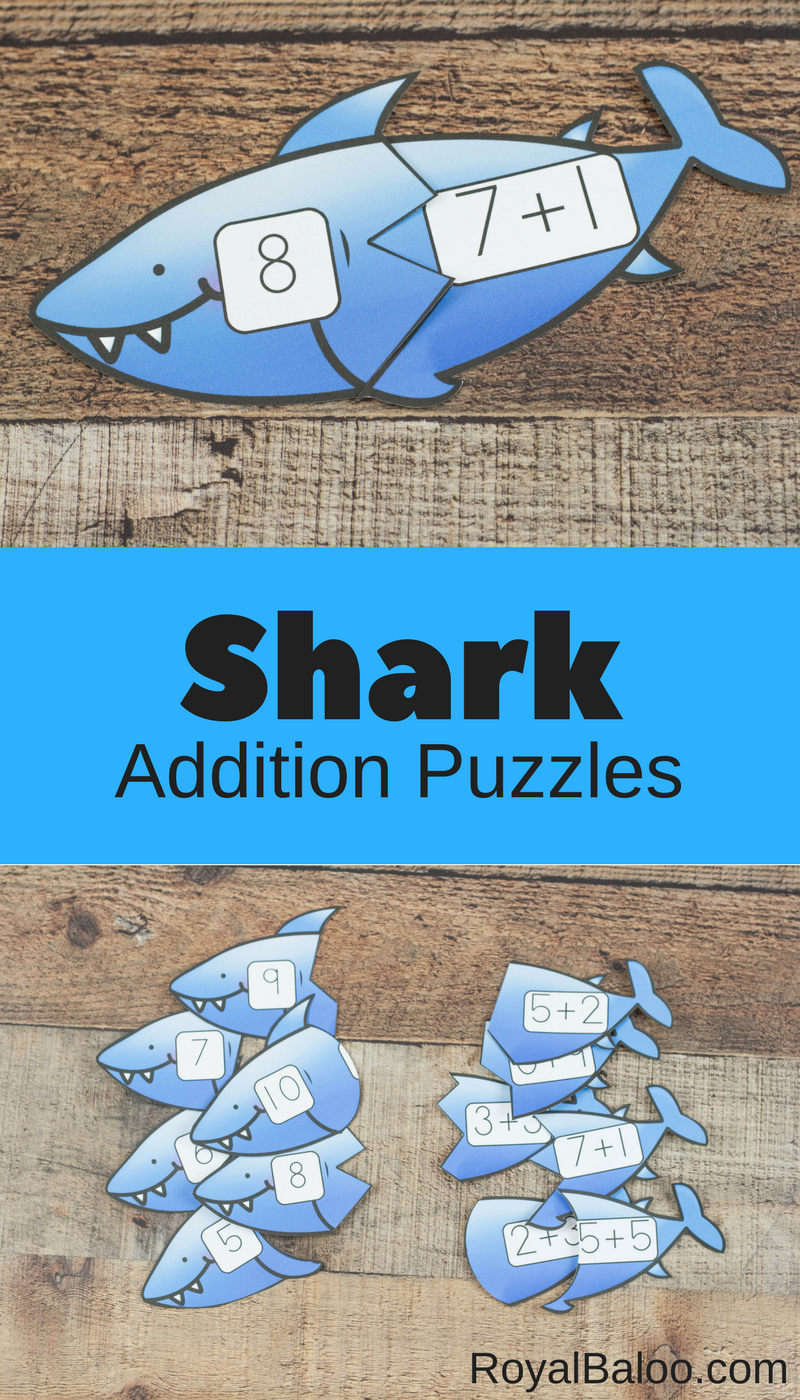 These shark addition puzzles are great fun for beginning addition ...