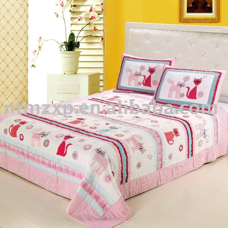 Lovely Pink Cat Applique Bedding Set Quilt Bedspread