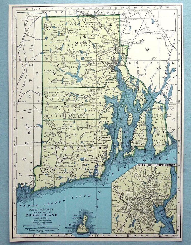 1943 Vintage Map of Rhode Island
