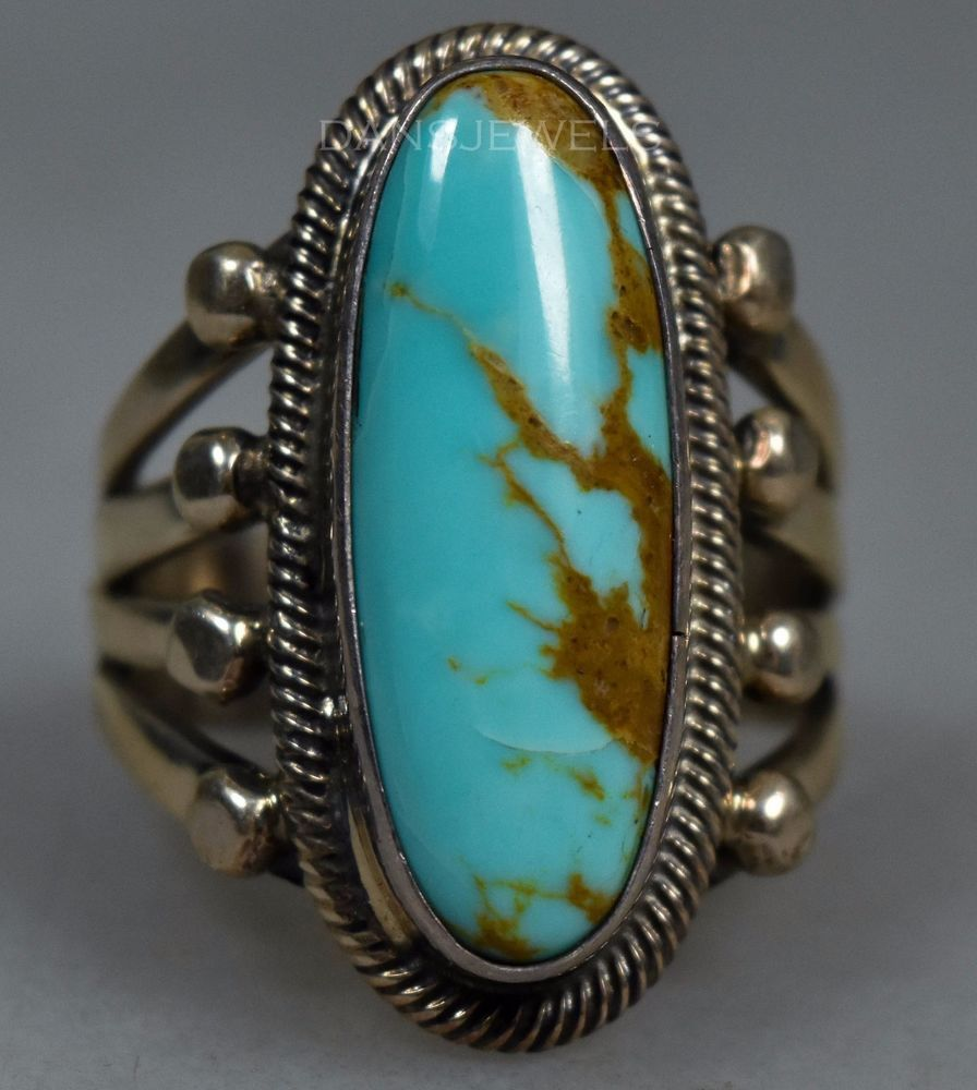 Vintage Old Pawn Navajo Southwestern Style 925 Sterling Silver And Morenci Turquoise Ring Size 15 US