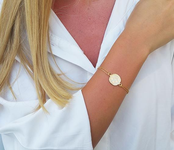 Gold Coin Bracelet Chain Stackable Bracelets Dainty Charm Jewelry Gift Pendant