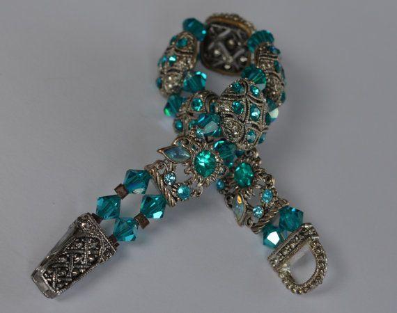 Swarovski Crystal Rhinestone Bracelet with Magnetic Clasp, Blue Zircon and Silver Beaded Rhinestone Bracelet, Teal Blue, Turquoise Blue