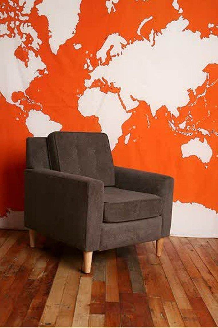 World Map Wall Orange Mural For the Walls Pinterest Map wall