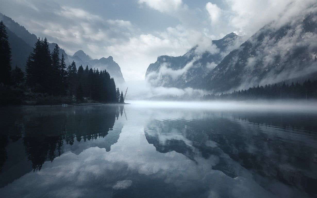 Calm Body Of Water Nature Water Landscape Morning Mist Lake Mountains Clouds Reflection Trees Dolomite Landscape Landscape Photography Beach At Night Hd wallpaper morning lake trees fog