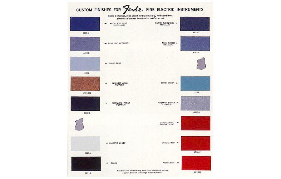 1966 1967 Fender Color Chart Fender Guitars Pinterest Guitars