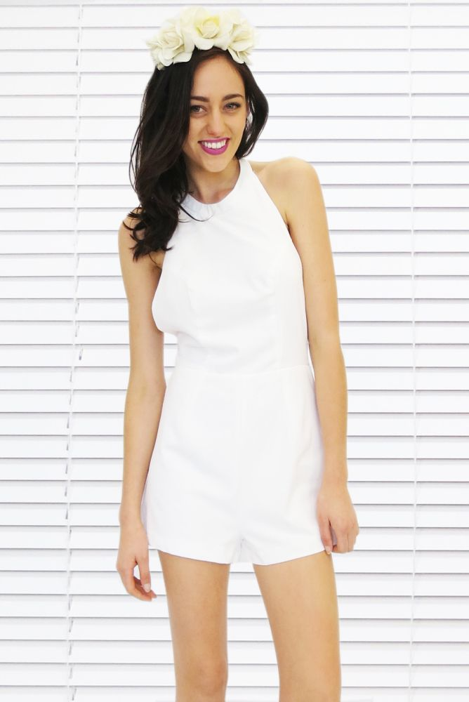 White Backless Romper and Flower Crown
