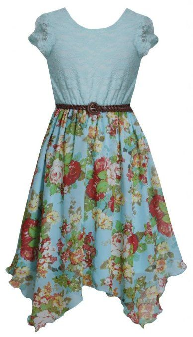 834797ac5f32 Amazon.com  Tween Girls 7-16 Aqua-Blue Belted Lace to Floral Chiffon ...