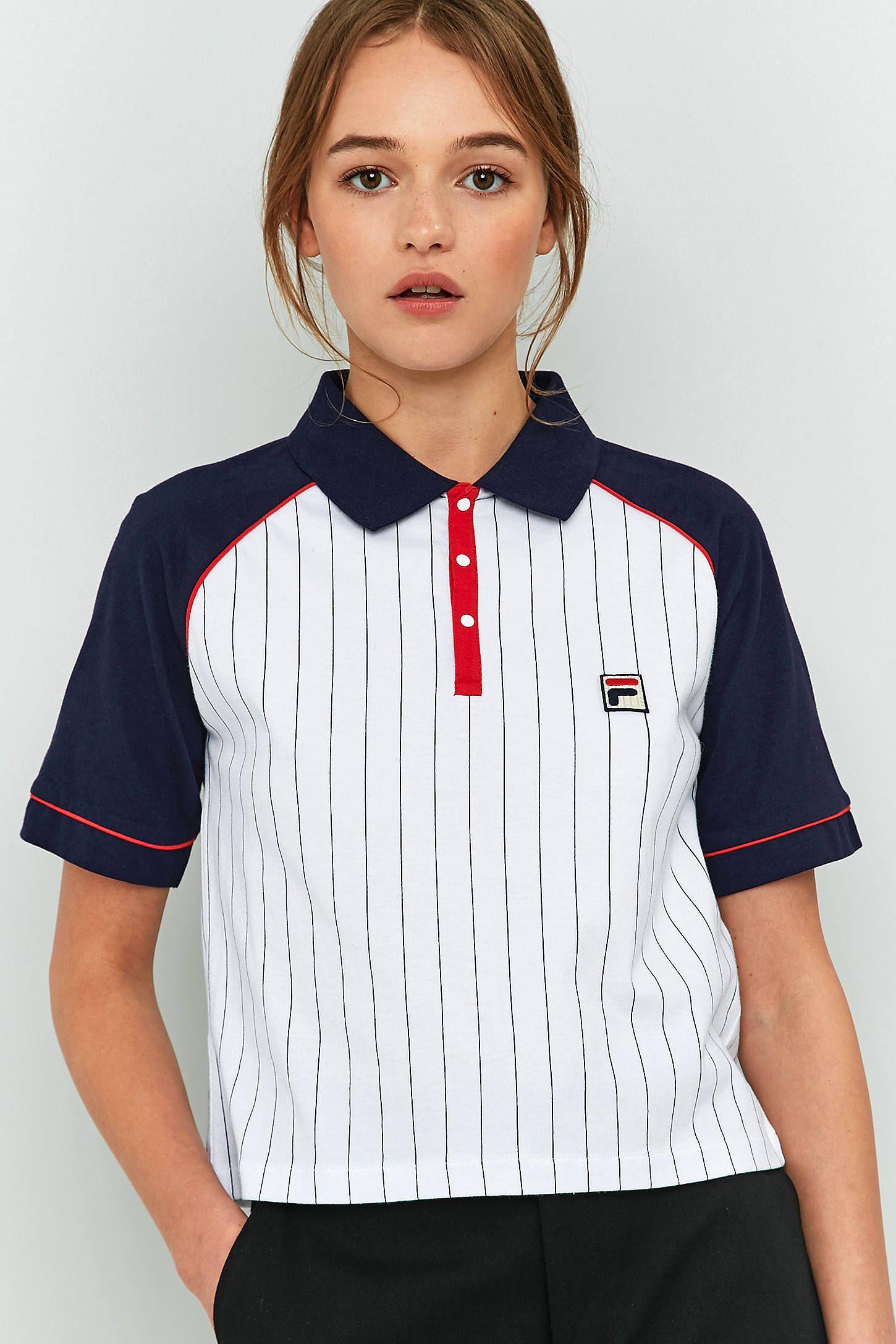 3574e631db79 FILA Carletta Pinstripe Polo Shirt   Outfitz   Fila outfit, Polo ...