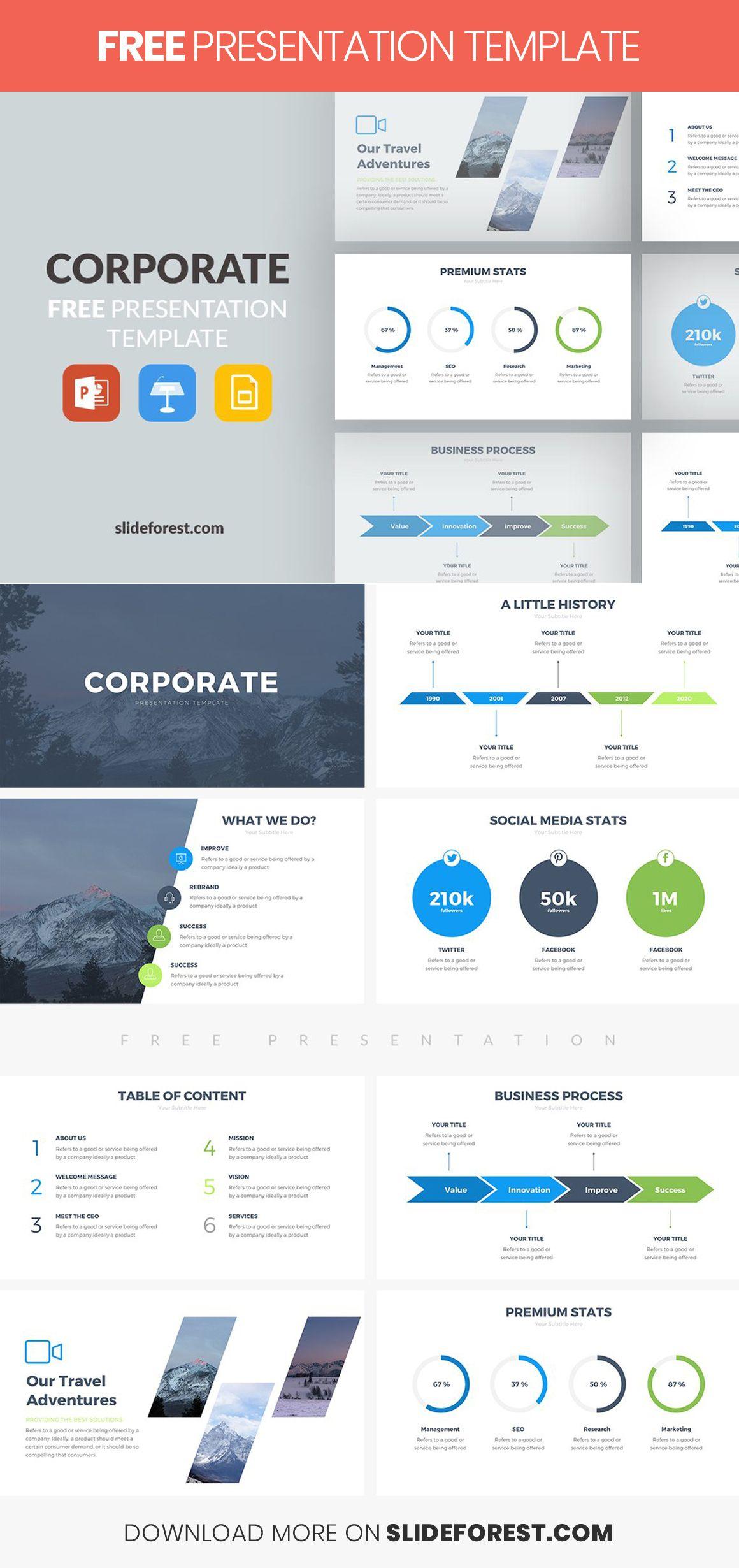 Corporate Free Presentation Template Presentation Template Free Powerpoint Presentation Design Presentation Slides Design