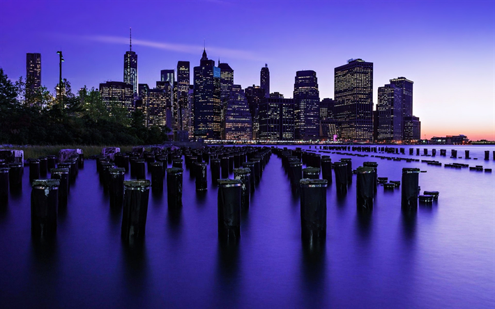 Download Wallpapers New York 4k Darkness Old Pier America Usa Nyc Besthqwallpapers Com New York Dream City New York State