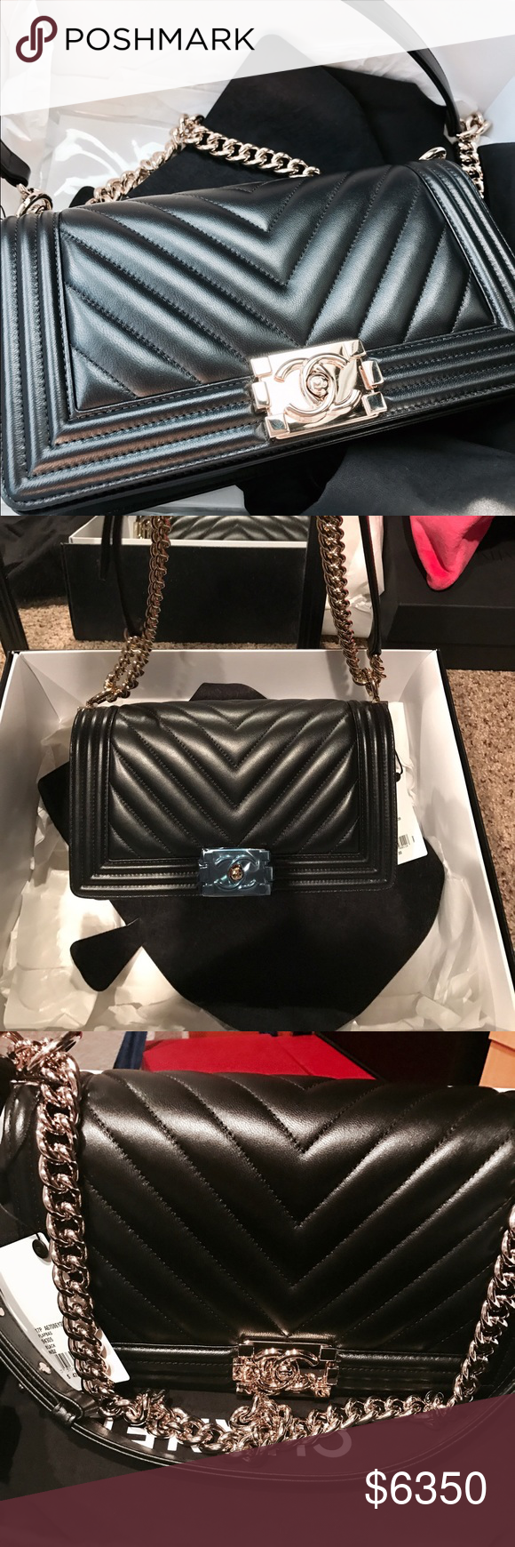 9d67c443082d Chanel boy bag chevron New Authentic Chanel Chevron Boy Bag Black with shiny  gold hardware. This is the old medium and it comes with box dust cover and  ...