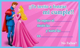 Aurora - Princesas de Disney - Tarjeta de cumpleaños para imprimir