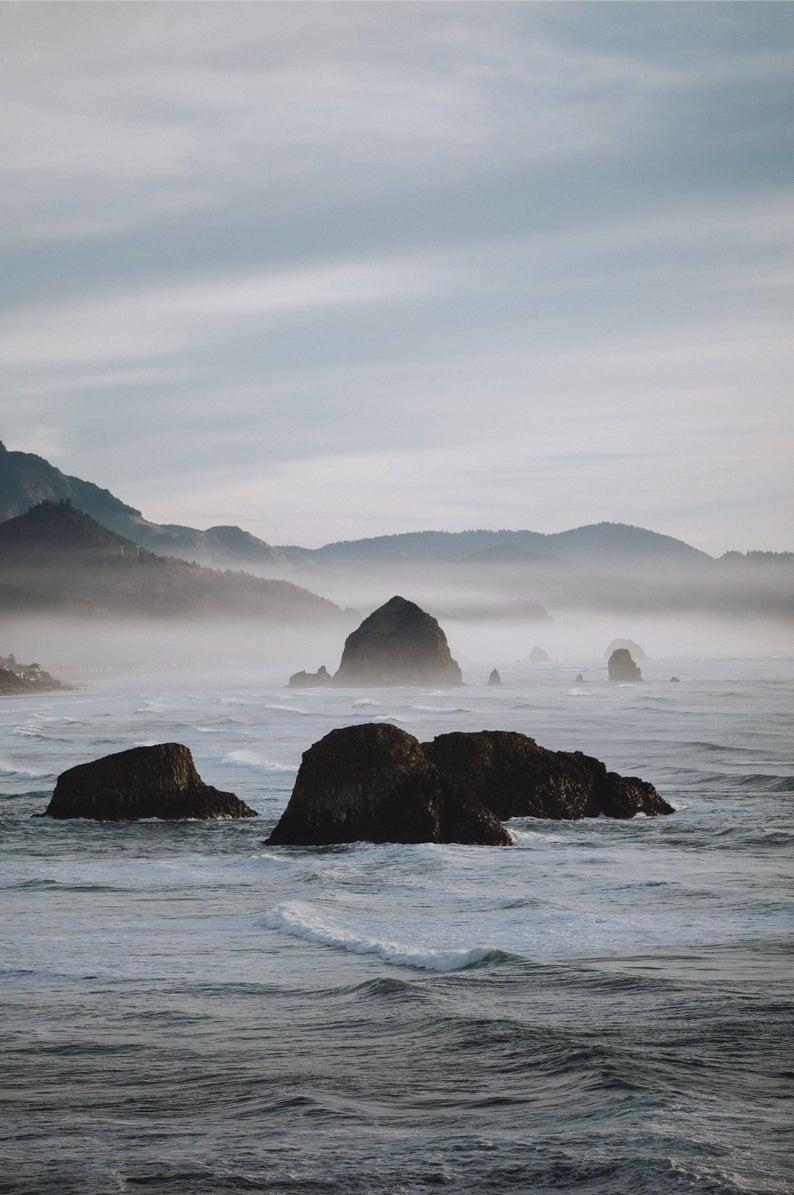 Ecola State Park Coastal Photograph | Haystack Rock Fine Art | Oregon Coast Wall Print | PNW Photography | Seaside Wall Art | 8x10 11x14