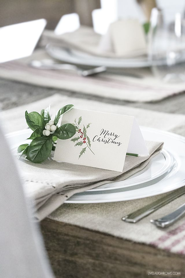 FREE Printable Christmas Place Cards   Christmas cards   Pinterest ...