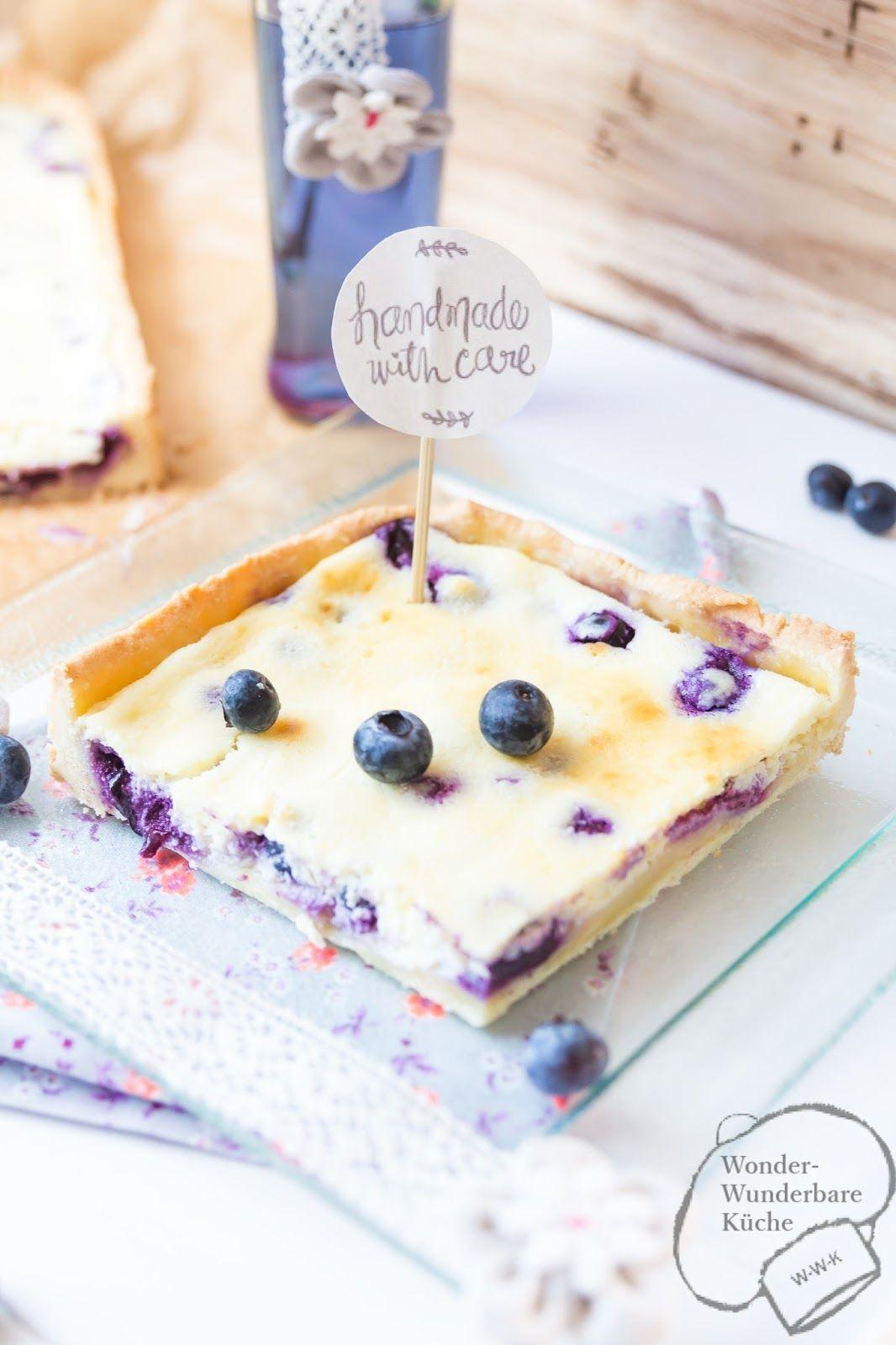Kasekuchen Mit Heidelbeeren Vom Blech Rezept Blaubeeren Kuchen