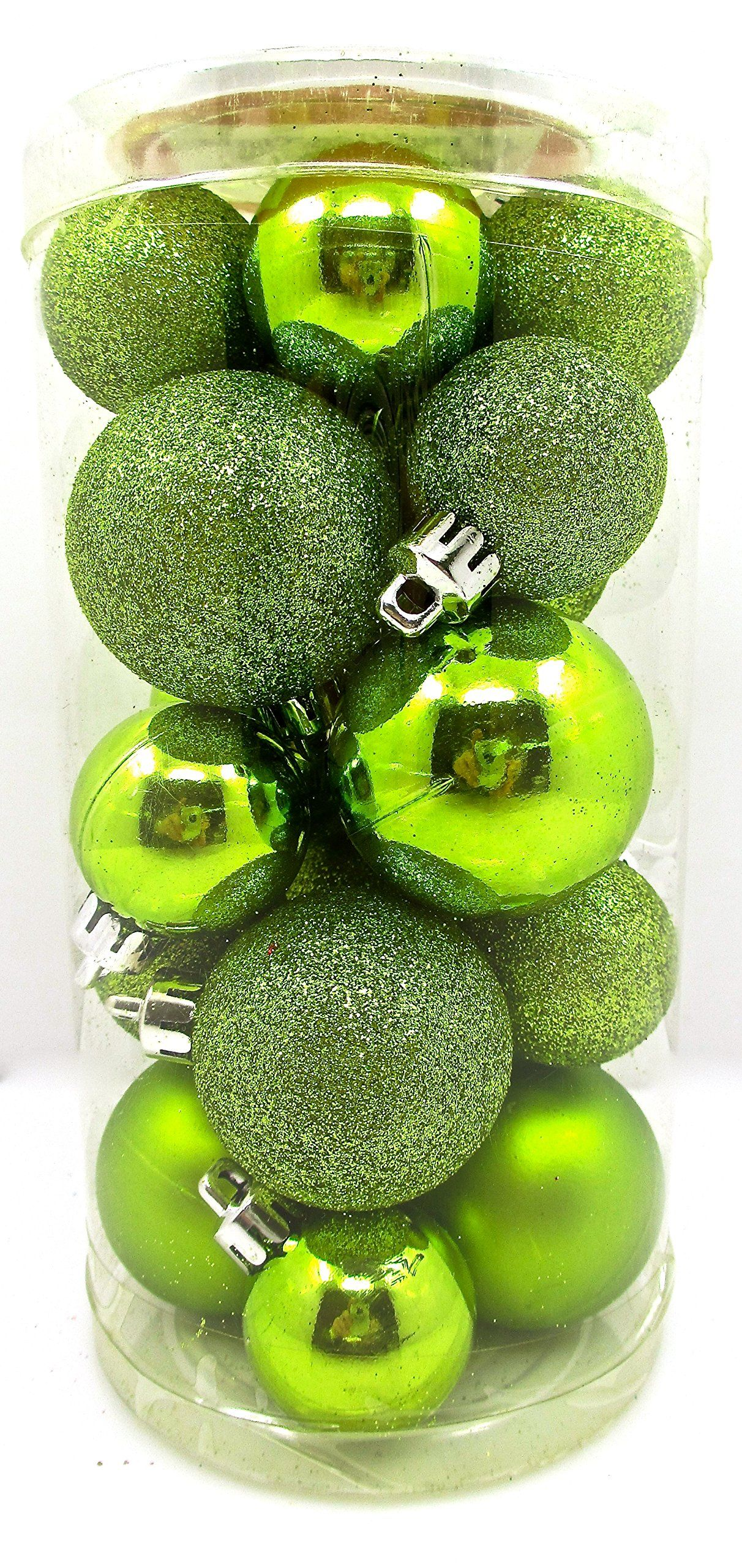 Amazon Com Holiday Time Mini Ornament Set Shatterproof Shiny Bulbs With Glitter 20x Lime Green Green Christmas Decorations Mini Ornaments Ornament Set
