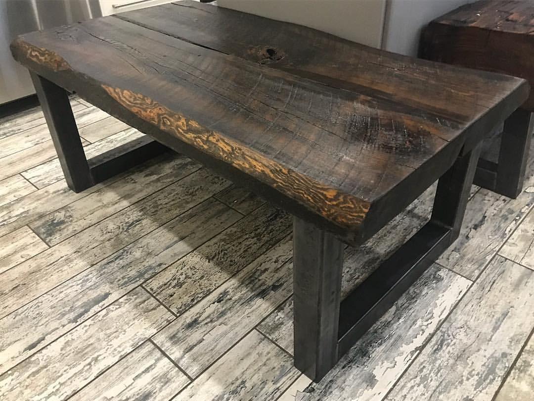 Live edge reclaimed wood coffee table on 25 x 25 u