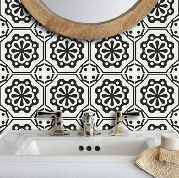 Testino Italian Black And Off White Wallpaper Removable Etsy Vinyl Wallpaper White Wallpaper Sophisticated Tile