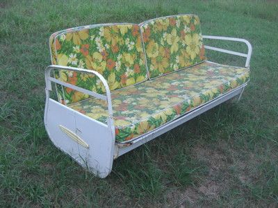 Vintage Metal Porch Glider With Cushions Antique Patio Swing