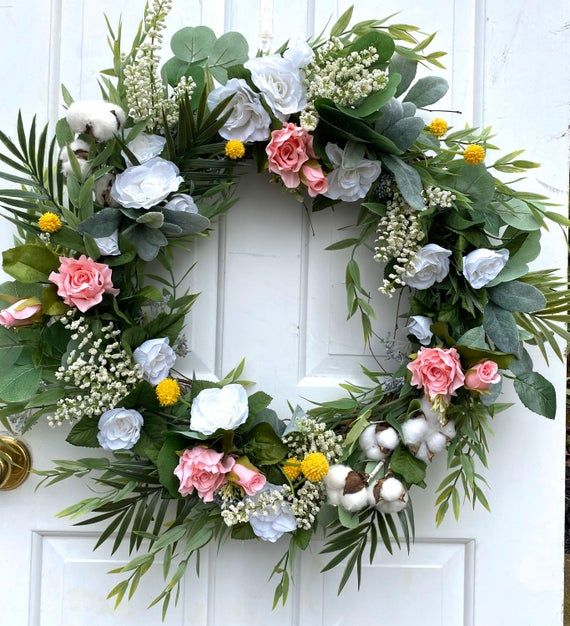 Photo of Spring Wreaths For Front Door, Farmhouse Spring Wreath, Spring Decor, Summer Wreath, Farmhouse Decor