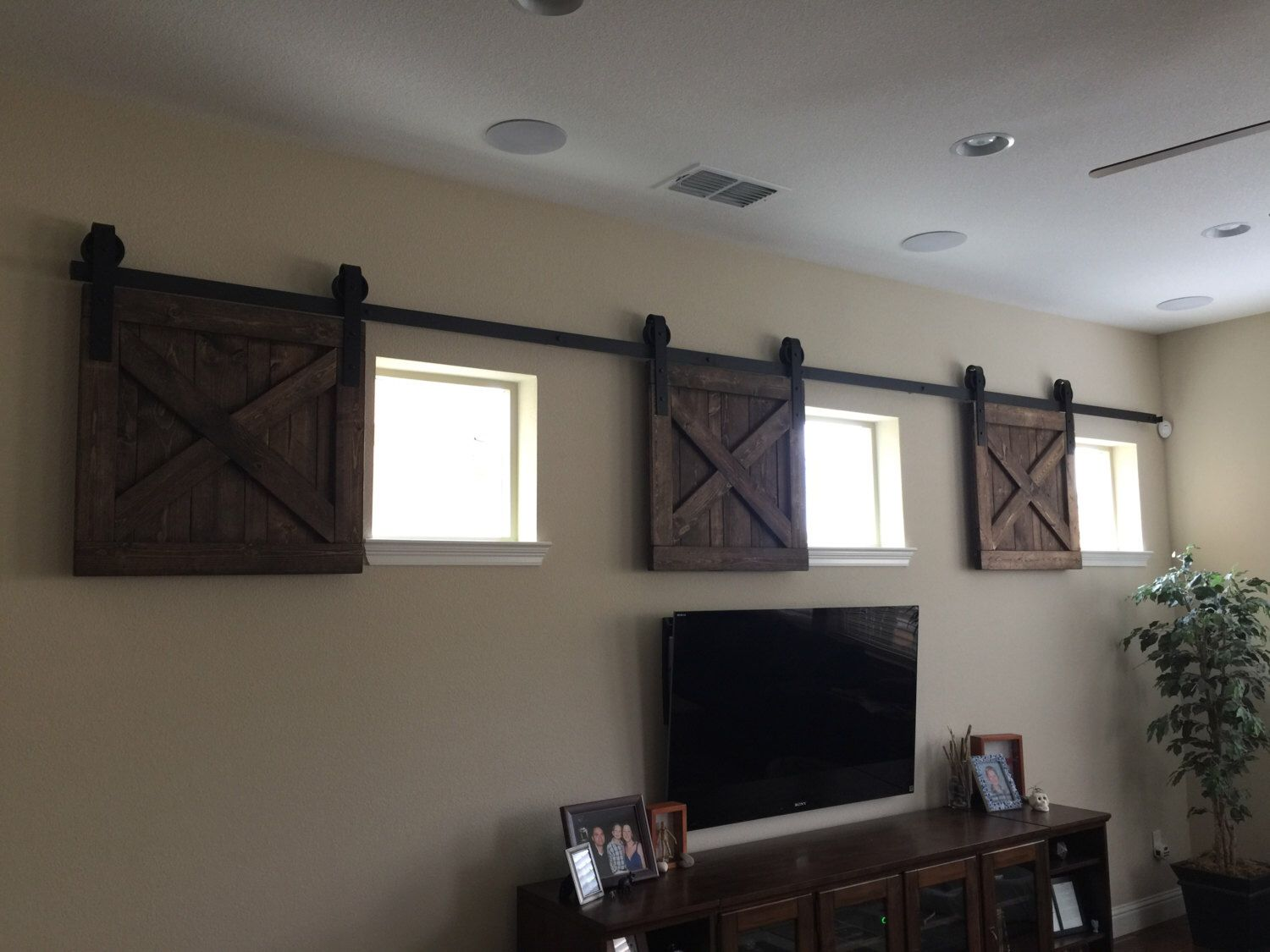 Rustic wood window shutters baby pet dog gate barn door for Window cover for home