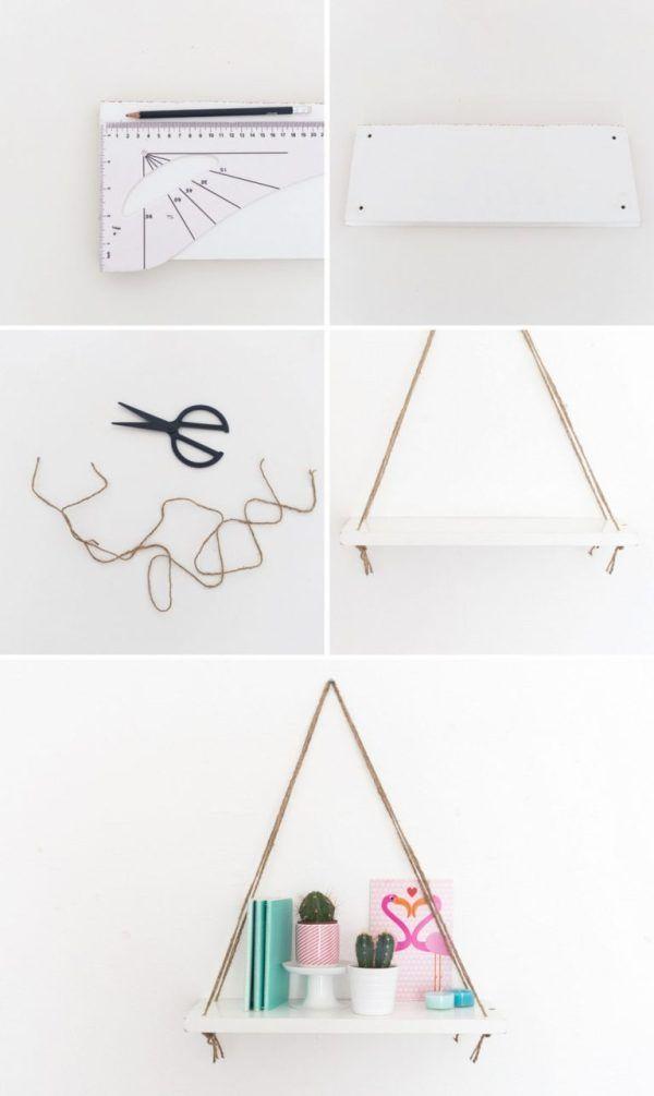 Faça você mesmo: prateleira suspensa com cordas