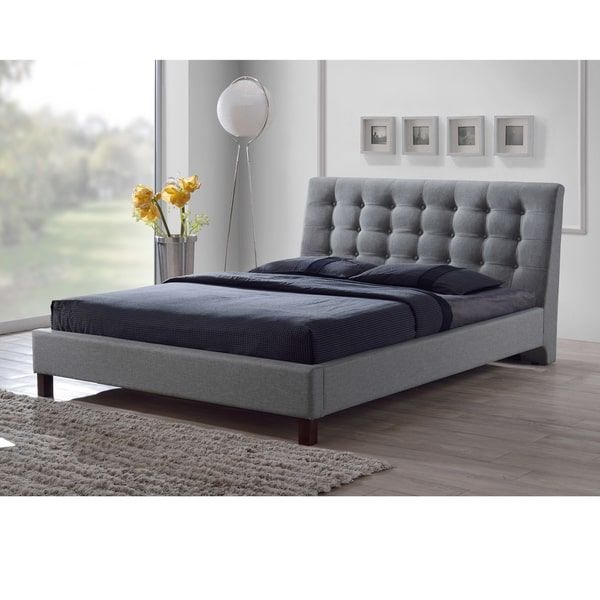 Zeller Grey Modern Upholstered Bed | beach house | Pinterest
