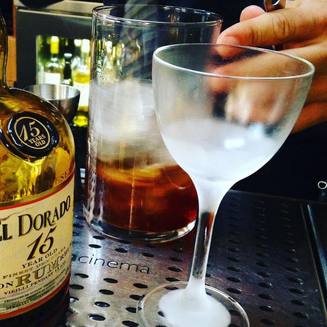 and Alex Swain whipping up a @drinkeldorado 15 YR #Manhattan at Foreign Cinema in #SanFrancisco @mavparra on the go! #friendsinhospitality #rumisforsharing #Manhattanesque #drinkeldorado