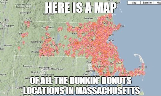 Dunkin Donuts Map Of Locations on