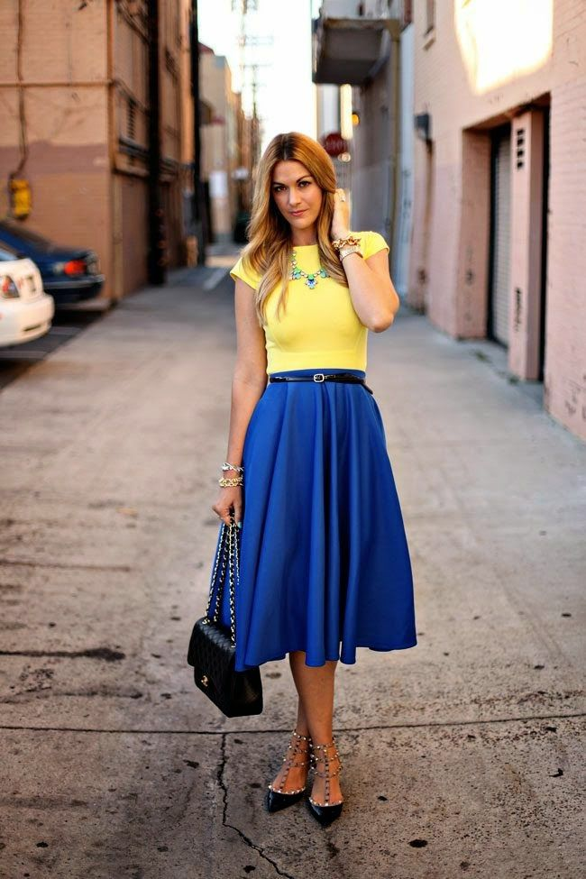 Fashion For Fashion: Royal Blue Pleated Maxi Long Skirt Top Yellow ...