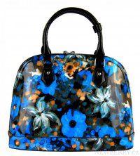 Modrá květovaná kabelka do ruky 598-BB