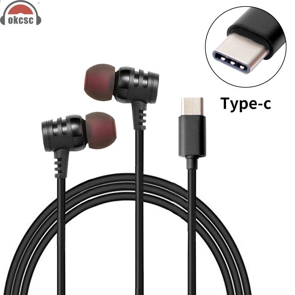 OKCSC USB Tipo c Plug Auricolari con microfono In-Ear Auricolari Adattatore  Button Control Cuffie per Samsung note 8 s8 xiaomi6 MIX2 letv 395f2a14df83