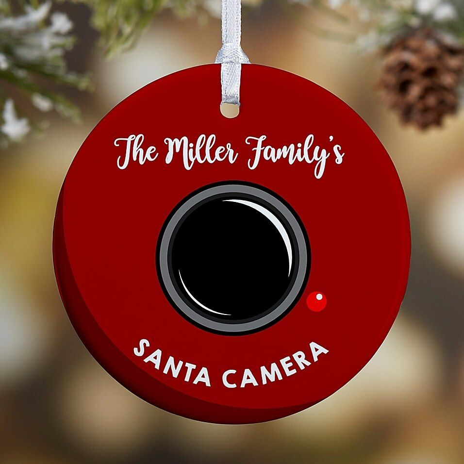 1Sided Glossy Santa Cam Personalized OrnamentSmall in