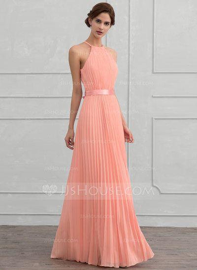 A-Line Princess Scoop Neck Floor-Length Bow(s) Pleated Zipper Up Spaghetti  Straps Sleeveless No Coral Winter Spring Summer Fall General Plus Chiffon  ... 850956e00c12
