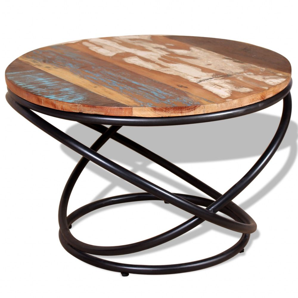 Iron coffee table solid reclaimed wood handmade living room furniture office big