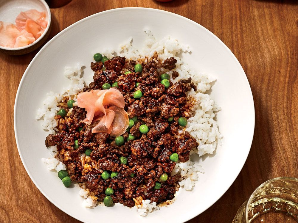 Soboro Donburi Gingery Ground Beef With Peas Over Rice Recipe Recipe Best Ground Beef Recipes Wine Recipes Food Wine Magazine