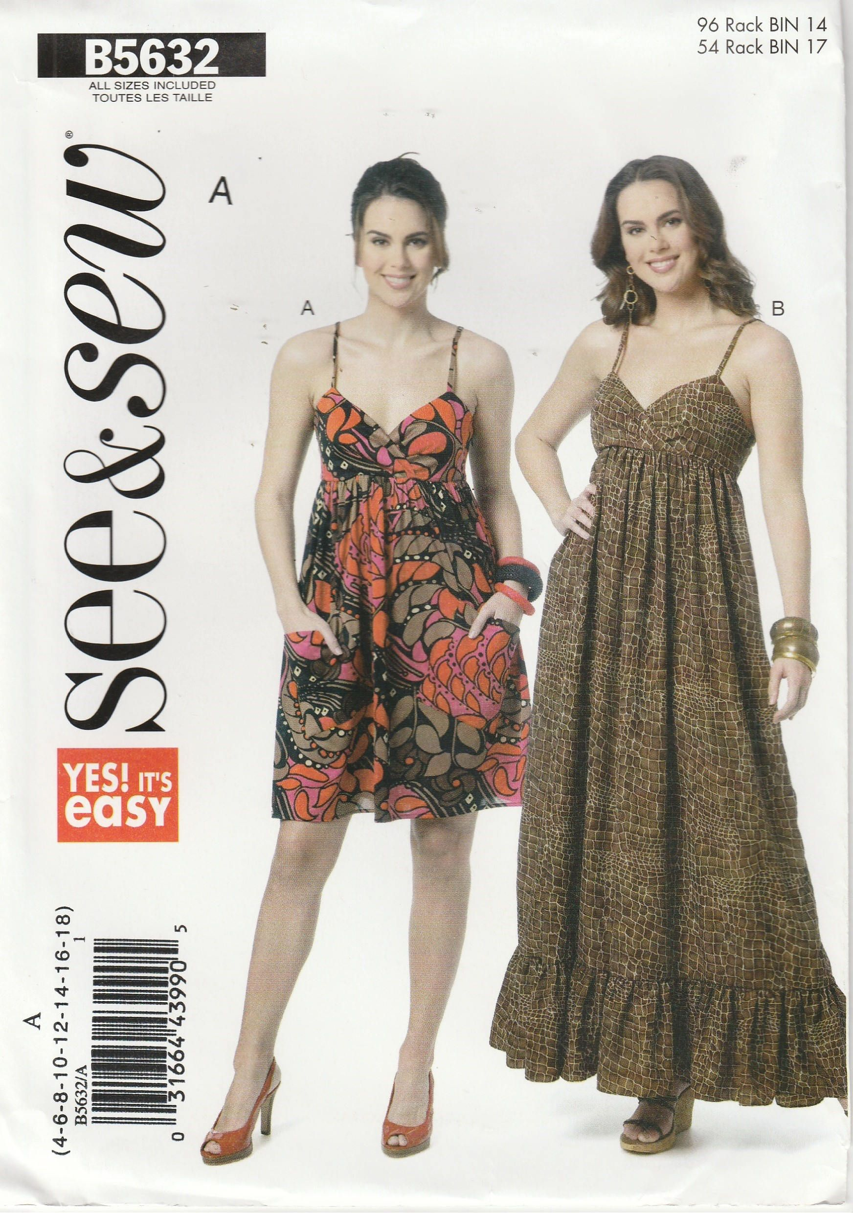 Easy dress pattern fitted bodice long short summer sun dress misses