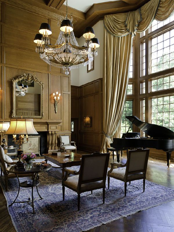 rustic grand victorian living room design | Living room with Grand piano and Grand chandelier | Living ...