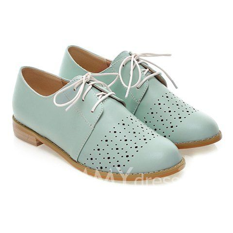$20.71 Preppy Women's Flat Shoes With Hollow Out and Lace-Up Design
