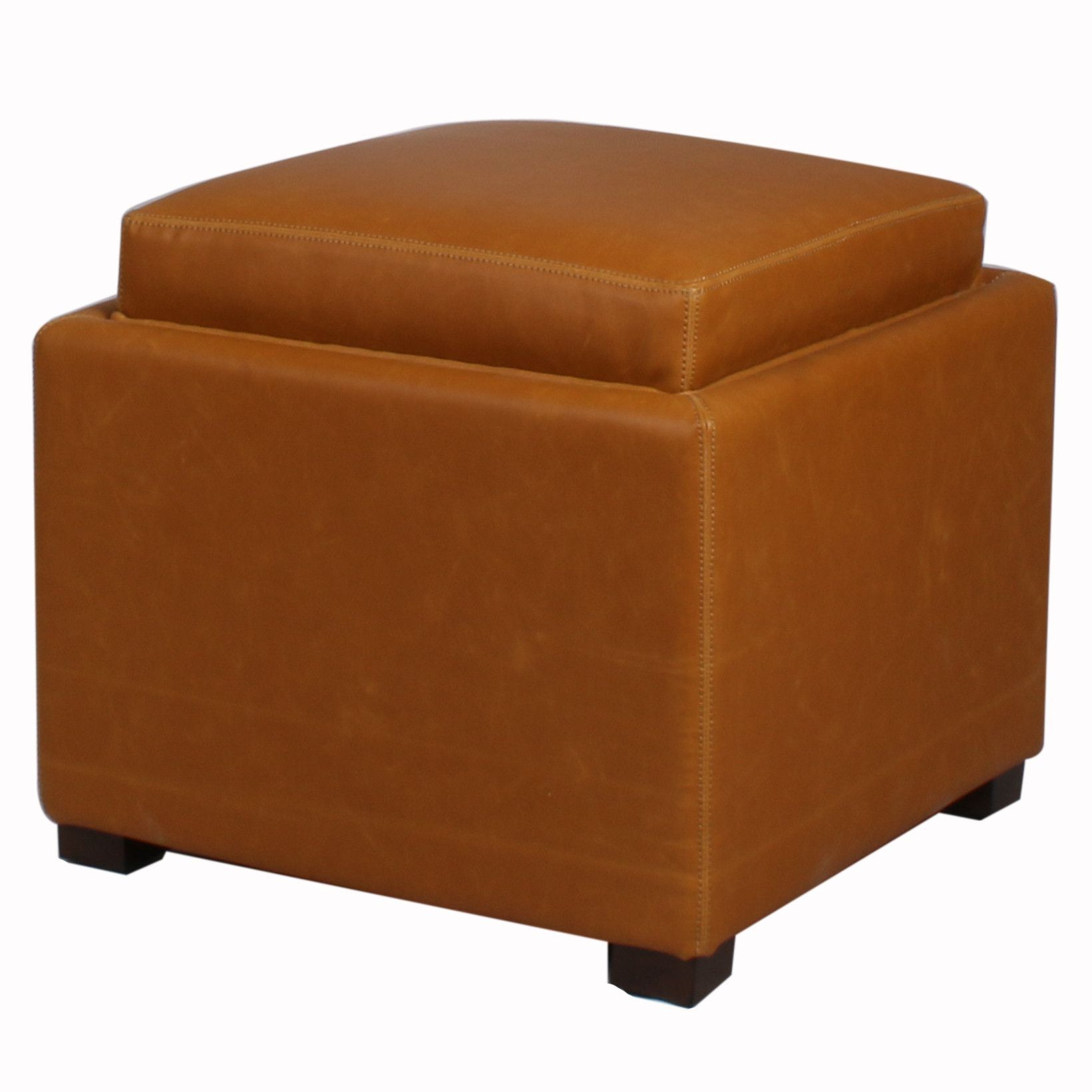 Cameron Square Bonded Leather Storage Ottoman W Tray Vintage Caramel