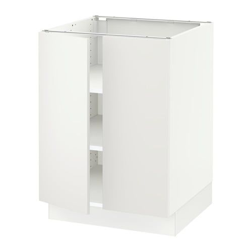 Best Base Cabinet With Shelves 2 Doors White Voxtorp Dark 400 x 300