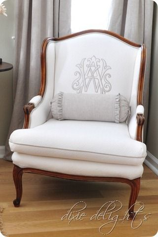 Exceptional wingback chair re-do. Love the Monogram, the quilted Waverly fabric, the welting... well, pretty much the whole shebang! Nice job!