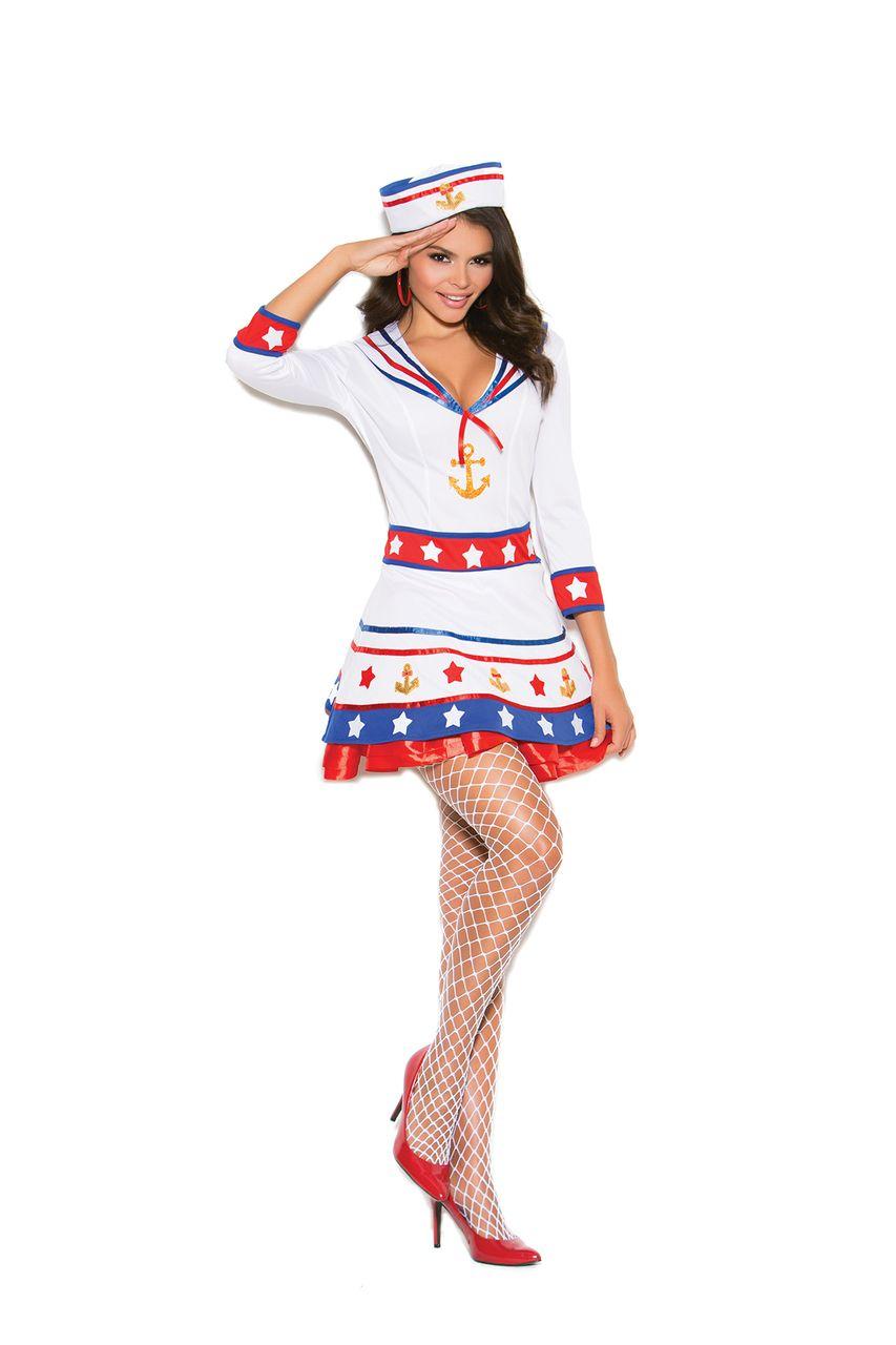 Elegant Moments Plus Size Harbor Hottie Sailor Girl Halloween Costume