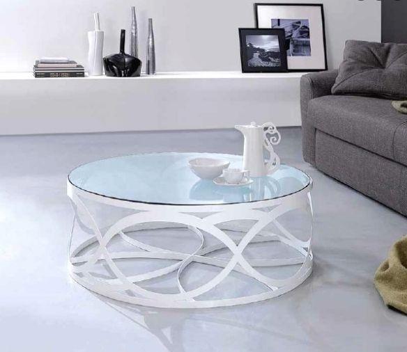 Hochwertig Design Couchtisch Rund Weiss Metall Glasplatte Wohnzimmer