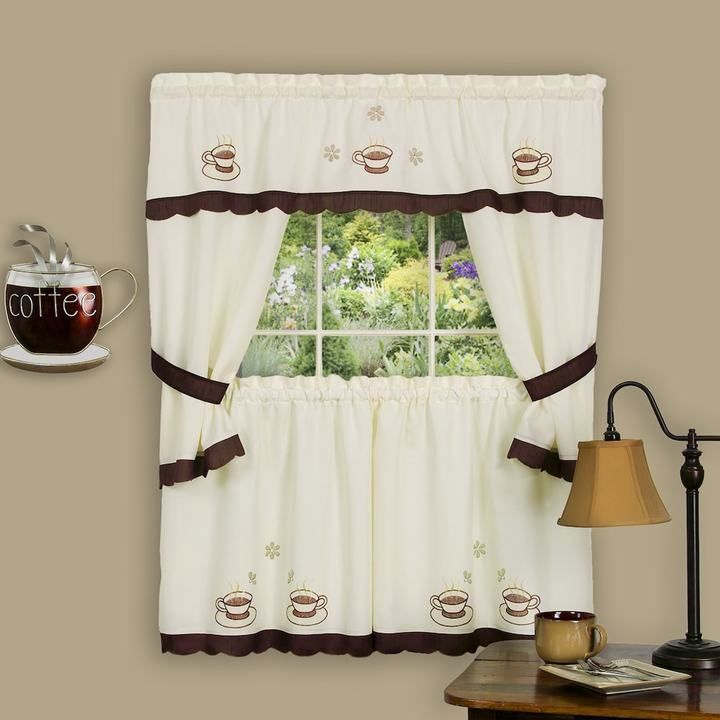 Kohl\'s Cuppa Joe 5-piece Swag Tier Cottage Kitchen Window Curtain ...