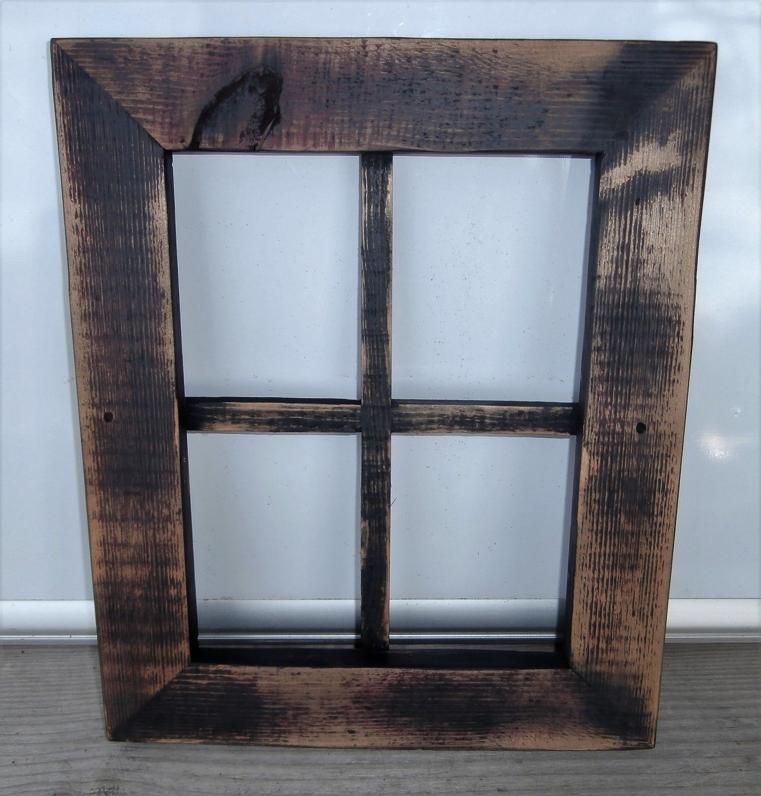 Reclaimed Wood Window Frame Country Rustic Primitive Shabby Black